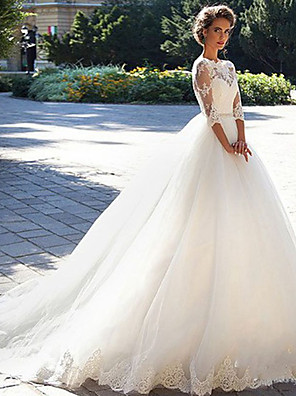 cheap Cocktail Dresses-A-Line Wedding Dresses Off Shoulder Court Train Lace Tulle 3/4 Length Sleeve Formal Sexy Illusion Sleeve with Appliques 2020