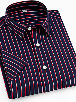 cheap Men's Shirts-Men's Striped Plaid Print Shirt Daily Button Down Collar Wine / Short Sleeve