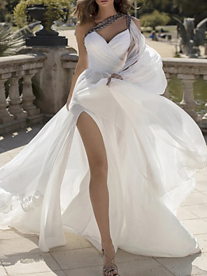 cheap Wedding Dresses-A-Line Wedding Dresses One Shoulder V Neck Sweep / Brush Train Chiffon Sleeveless Vintage Sexy Wedding Dress in Color with Split Front 2020