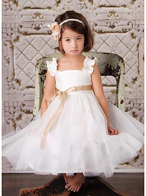 cheap Flower Girl Dresses-A-Line Knee Length Wedding / Party Flower Girl Dresses - Satin / Tulle Sleeveless Square Neck with Sash / Ribbon / Tier
