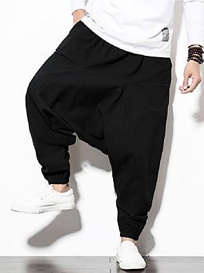 cheap Women's Pants-Men's Chinoiserie Slim Linen Harem Pants - Solid Colored Black Red Navy Blue US34 / UK34 / EU42 / US36 / UK36 / EU44 / US38 / UK38 / EU46