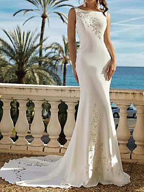cheap Wedding Dresses-Mermaid / Trumpet Wedding Dresses Jewel Neck Sweep / Brush Train Satin Sleeveless Romantic Backless with Embroidery 2020