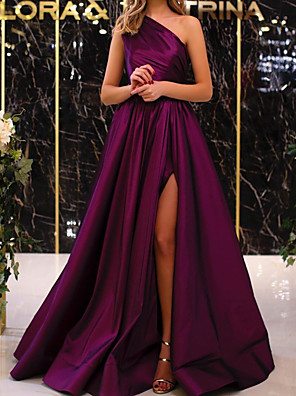 cheap Evening Dresses-A-Line Elegant Minimalist Engagement Formal Evening Dress One Shoulder Sleeveless Floor Length Satin with Pleats Split 2020