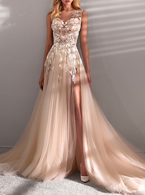 cheap Wedding Dresses-A-Line Wedding Dresses Jewel Neck Sweep / Brush Train Lace Tulle Sleeveless Sexy See-Through with Embroidery Appliques Split Front 2020
