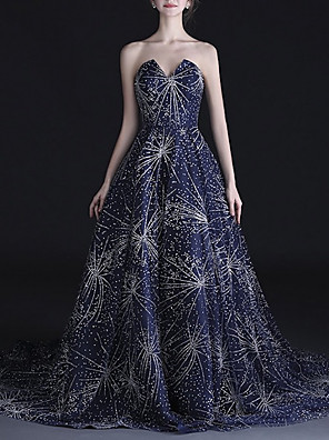 cheap Prom Dresses-A-Line Luxurious Blue Engagement Formal Evening Dress Strapless Sleeveless Court Train Tulle with Crystals 2020