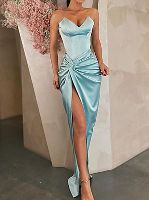 cheap Prom Dresses-Sheath / Column Minimalist Blue Party Wear Formal Evening Dress Sweetheart Neckline Sleeveless Floor Length Satin with Draping Split 2020