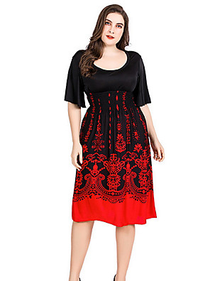 cheap Women's Dresses-Women's A Line Dress - Short Sleeves Print Summer Street chic 2020 Black M L XL XXL XXXL XXXXL XXXXXL XXXXXXL