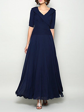 cheap Bridesmaid Dresses-A-Line Mother of the Bride Dress Elegant V Neck Ankle Length Chiffon Short Sleeve with Pleats Ruching 2020