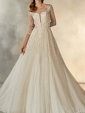 cheap Evening Dresses-A-Line Wedding Dresses Jewel Neck Sweep / Brush Train Lace Tulle Half Sleeve Formal See-Through with Crystals Embroidery 2020