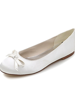 cheap Mother of the Bride Dresses-Women's Wedding Shoes Spring / Summer Flat Heel Round Toe Sweet Wedding Party & Evening Bowknot Solid Colored Satin White / Black / Purple