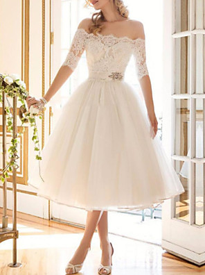 cheap Wedding Dresses-A-Line Wedding Dresses Off Shoulder Tea Length Lace Tulle Half Sleeve Vintage Sexy Wedding Dress in Color Backless with Crystal Brooch 2020