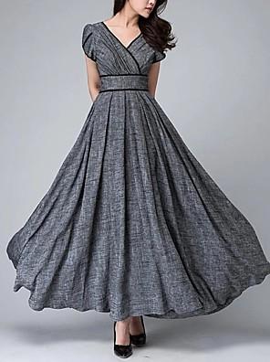 cheap Evening Dresses-Sheath / Column Elegant Vintage Wedding Guest Formal Evening Dress V Neck Sleeveless Floor Length Spandex with Sleek 2020