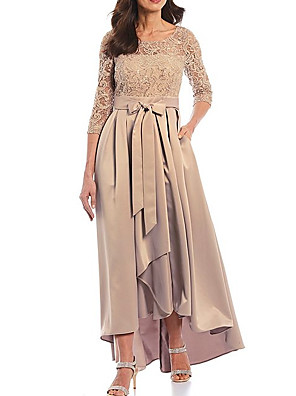 cheap Prom Dresses-A-Line Mother of the Bride Dress Elegant Jewel Neck Asymmetrical Lace Satin 3/4 Length Sleeve with Bow(s) Pleats 2020