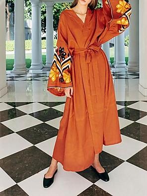 cheap Prom Dresses-Sheath / Column Floral Maxi Wedding Guest Formal Evening Dress V Neck Long Sleeve Floor Length Spandex with Pattern / Print 2020