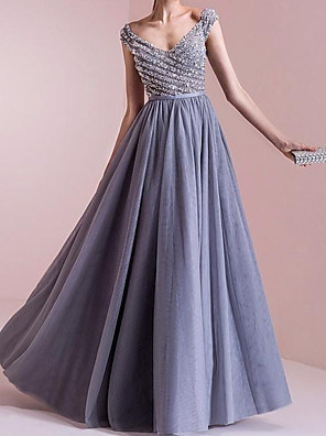 cheap Evening Dresses-A-Line Elegant Sparkle Engagement Formal Evening Dress Scoop Neck Sleeveless Floor Length Chiffon with Pleats Beading 2020