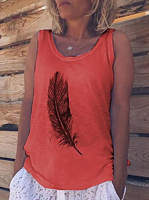 cheap Women's Blouses & Shirts-Women's Tank Top Geometric Tops White Blue Orange / Long Sleeve