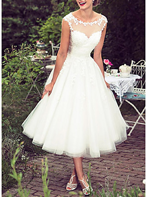 cheap Wedding Dresses-Ball Gown A-Line Wedding Dresses Jewel Neck Tea Length Lace Tulle Sleeveless Vintage 1950s with Embroidery Appliques 2020