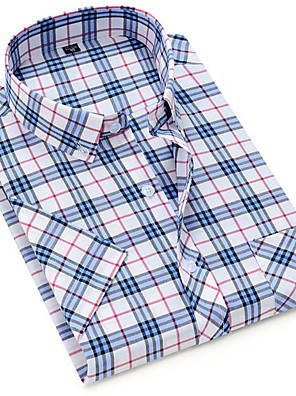 cheap Men's Shirts-Men's Plaid Print Shirt - Cotton Daily Button Down Collar Blue / Short Sleeve