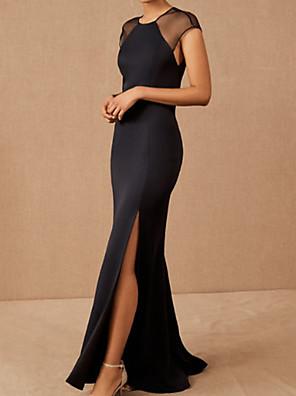 cheap Evening Dresses-Mermaid / Trumpet Elegant Minimalist Party Wear Formal Evening Dress Jewel Neck Short Sleeve Sweep / Brush Train Spandex with Split 2020