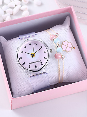 cheap Quartz Watches-Women's Quartz Watches Quartz Floral Style Flower Chronograph Rubber Grey Analog - Black Blue Blushing Pink One Year Battery Life