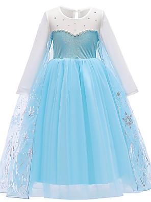 cheap Girls' Dresses-Kids Toddler Girls' Active Sweet Snowman Snowflake Print Long Sleeve Midi Dress Blue