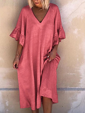 cheap Maxi Dresses-Women's A-Line Dress Knee Length Dress - Half Sleeve Solid Color Summer V Neck Casual Mumu 2020 Red Dusty Blue Light Blue S M L XL XXL XXXL