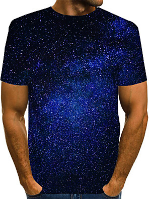 cheap Men's Tees & Tank Tops-Men's Graphic 3D Print Space T-shirt Basic Daily Round Neck Blue / Purple / Red / Yellow / Green / Short Sleeve
