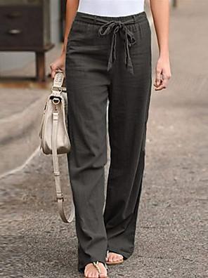 cheap Women's Pants-Women's Basic Plus Size Loose Cotton Chinos Pants - Solid Colored Black Blue Khaki S / M / L