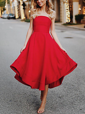 cheap Evening Dresses-A-Line Elegant Vintage Party Wear Cocktail Party Dress Off Shoulder Sleeveless Tea Length Nylon Spandex with Ruffles 2020