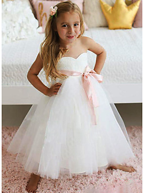 cheap Flower Girl Dresses-A-Line Knee Length Wedding / Party Flower Girl Dresses - Lace / Tulle Sleeveless Jewel Neck with Sash / Ribbon / Tier