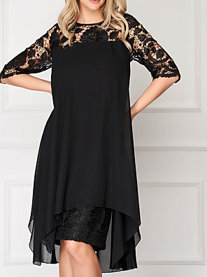 cheap Evening Dresses-A-Line Mother of the Bride Dress Elegant Illusion Neck Knee Length Chiffon Lace Half Sleeve with Lace Pleats Appliques 2020