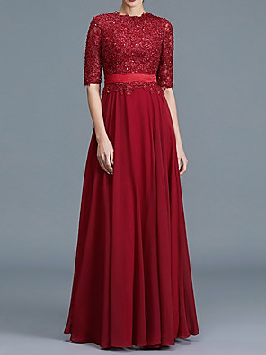 cheap Prom Dresses-A-Line Mother of the Bride Dress Elegant Jewel Neck Floor Length Chiffon Lace Half Sleeve with Pleats Appliques 2020