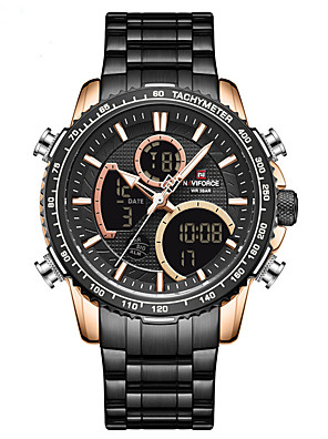 cheap Sport Watches-NAVIFORCE Men's Steel Band Watches Quartz Modern Style Sporty Outdoor Calendar / date / day Stainless Steel Black / Silver / Brown Analog - Digital - Black Blue Green Two Years Battery Life