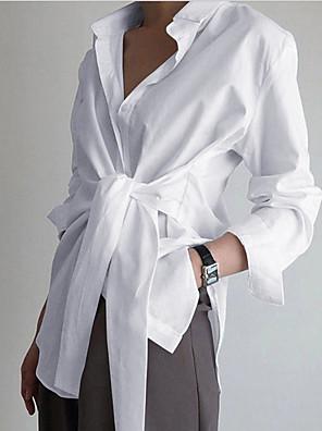 cheap Women's Blouses & Shirts-Women's Shirt Solid Colored Tops Shirt Collar White Black Light Blue / Long Sleeve