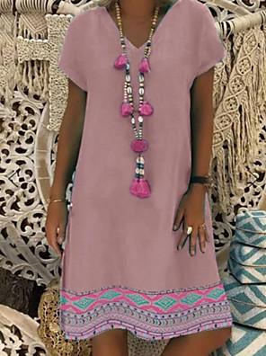 cheap Summer Dresses-Women's Shift Dress Knee Length Dress - Short Sleeves Floral Summer Street chic 2020 Blushing Pink Gray S M L XL XXL XXXL XXXXL