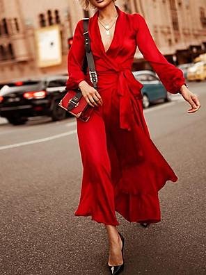 cheap Summer Dresses-Women's Maxi A Line Dress - Long Sleeve Solid Color Summer V Neck Street chic 2020 Purple Red S M L XL XXL XXXL