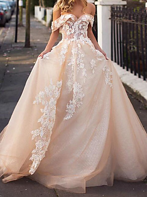 cheap Wedding Dresses-A-Line Wedding Dresses Jewel Neck Court Train Lace Tulle Short Sleeve Formal Wedding Dress in Color with Embroidery 2020