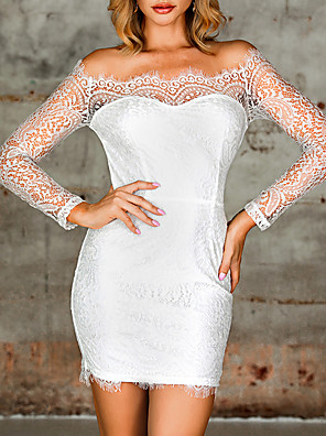 cheap Mini Dresses-Women's Bodycon Dress - 3/4 Length Sleeve Solid Color Zipper Spring Summer Off Shoulder Square Neck Vintage Sexy Party Daily Slim 2020 White S M L / Lace