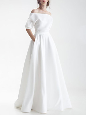 cheap Mother of the Bride Dresses-A-Line Wedding Dresses Off Shoulder Sweep / Brush Train Chiffon Over Satin Half Sleeve Simple with Sashes / Ribbons Bow(s) 2020