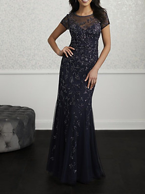 cheap Evening Dresses-Mermaid / Trumpet Jewel Neck Floor Length Lace / Tulle Bridesmaid Dress with Appliques / Ruching