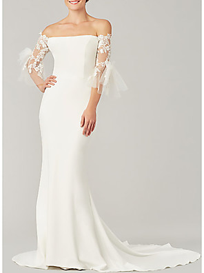 cheap Wedding Dresses-Mermaid / Trumpet Wedding Dresses Off Shoulder Sweep / Brush Train Tulle Stretch Satin 3/4 Length Sleeve Simple Illusion Sleeve with Bow(s) Appliques 2020
