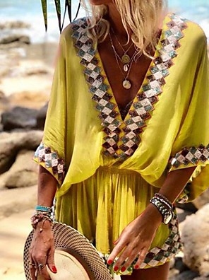cheap Party Dresses-Women's Shift Dress - 3/4 Length Sleeve Geometric Summer Elegant 2020 Blue Red Yellow Fuchsia Orange S M L XL XXL