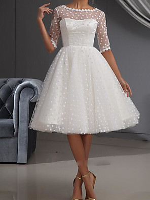 cheap Prom Dresses-A-Line Wedding Dresses Jewel Neck Knee Length Lace Tulle Half Sleeve Vintage Little White Dress 1950s with Embroidery 2020