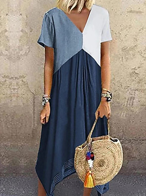 cheap Print Dresses-Women's Plus Size A-Line Dress Maxi long Dress - Short Sleeve Color Block Color Block Spring & Summer V Neck Casual Vacation 2020 Red Green Gray Light Blue S M L XL XXL XXXL XXXXL XXXXXL