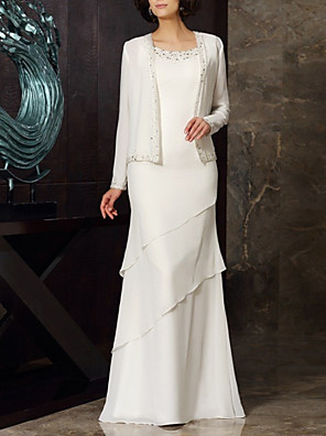 cheap Evening Dresses-Two Piece Mother of the Bride Dress Elegant Jewel Neck Floor Length Chiffon Long Sleeve with Beading Cascading Ruffles 2020