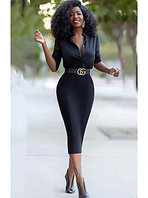 cheap Junior Bridesmaid Dresses-Women's Sheath Dress Half Sleeve Solid Color Summer V Neck Casual Sexy 2020 Black S M L XL / Mini
