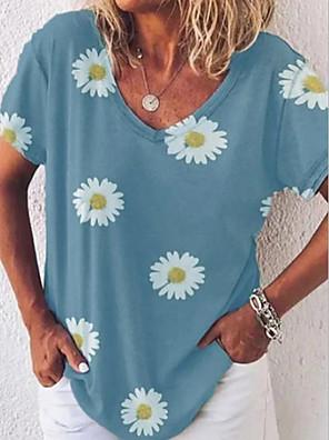 cheap Women's Blouses & Shirts-Women's T-shirt Floral Tops V Neck Yellow Khaki Gray