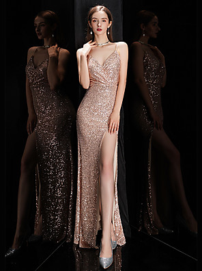 cheap Evening Dresses-Mermaid / Trumpet Sparkle Wedding Guest Prom Dress V Neck Spaghetti Strap Sleeveless Floor Length Sequined with Sequin 2020