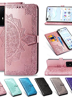 cheap Samsung Case-Mandala Embossed Leather Wallet Flip Case for Samsung Galaxy S20 Ultra S20 Plus A51 A71 A91 A81 A41 A31 A21 A11 A01 A20e A70 A60 A50 A40 A30 A10 A9 A7 2018 S10 S9 S8 Note 10 Card Stand Cover