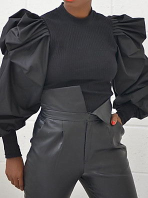 cheap Women's Blouses & Shirts-Women's Blouse Solid Colored Round Neck Tops Puff Sleeve Loose Exaggerated Spring Fall Black Gray / Going out